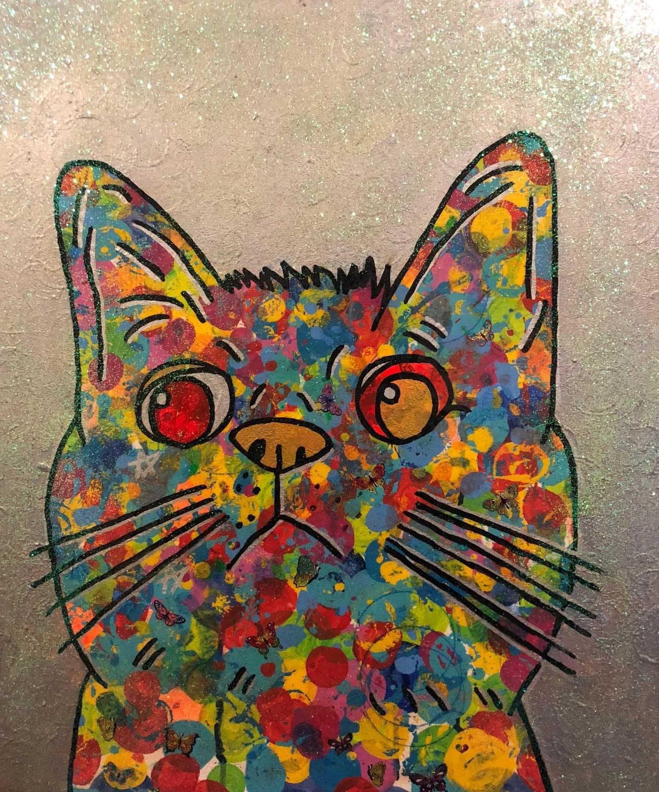 Cosmic moggy by Barrie J Davies 2018, mixed media on canvas, unframed, 50cm x 60cm. Barrie J Davies is an Artist - Pop Art and Street art inspired Artist based in Brighton England UK - Pop Art Paintings, Street Art Prints & Editions available.