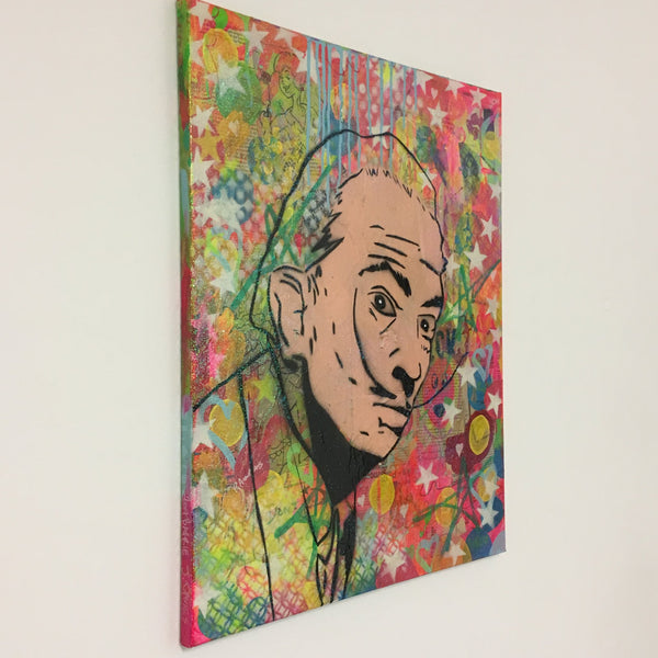 Dali heck by Barrie J Davies, 2017, mixed media on canvas, 50cm x 60cm, unframed. Barrie J Davies is an Artist - Pop Art and Street art inspired Artist based in Brighton England UK - Pop Art Paintings, Street Art Prints & Editions available