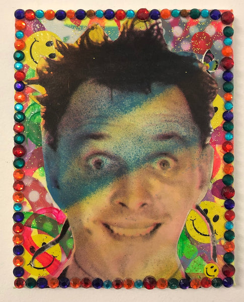 Disco Rik by Barrie J Davies 2020, mixed media on canvas, Unframed, 25cm x 20cm. Barrie J Davies is an Artist - Pop Art and Street art inspired Artist based in Brighton England UK - Pop Art Paintings, Street Art Prints & Editions available