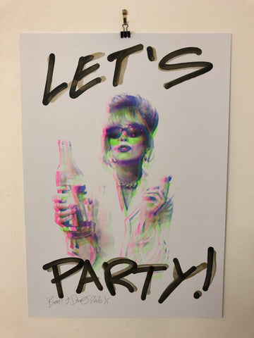 I Want it all Lets Party Print by Barrie J Davies 2020 - unframed Silkscreen print on paper (hand finished) edition of 1/1 - A2 size 42cm x 59.4cm.  Barrie J Davies is an Artist - Pop Art and Street art inspired Artist based in Brighton England UK - Paintings, Prints & Editions available.