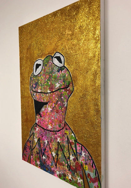Peace Frog by Barrie J Davies 2018, mixed media on canvas, Unframed, 60cm x 100cm. Barrie J Davies is an Artist - Pop Art and Street art inspired Artist based in Brighton England UK - Pop Art Paintings, Street Art Prints & Editions available.