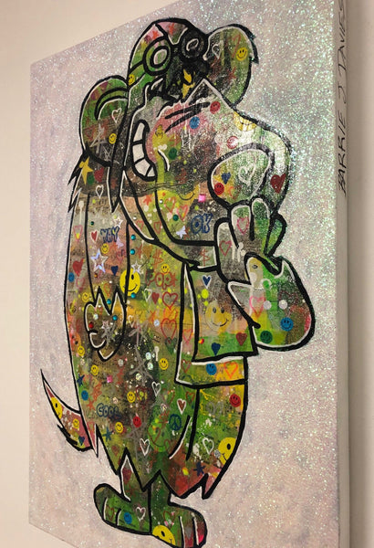 I wanna be your dog! by Barrie J Davies 2019, mixed media on canvas, Unframed, 50cm x 75cm