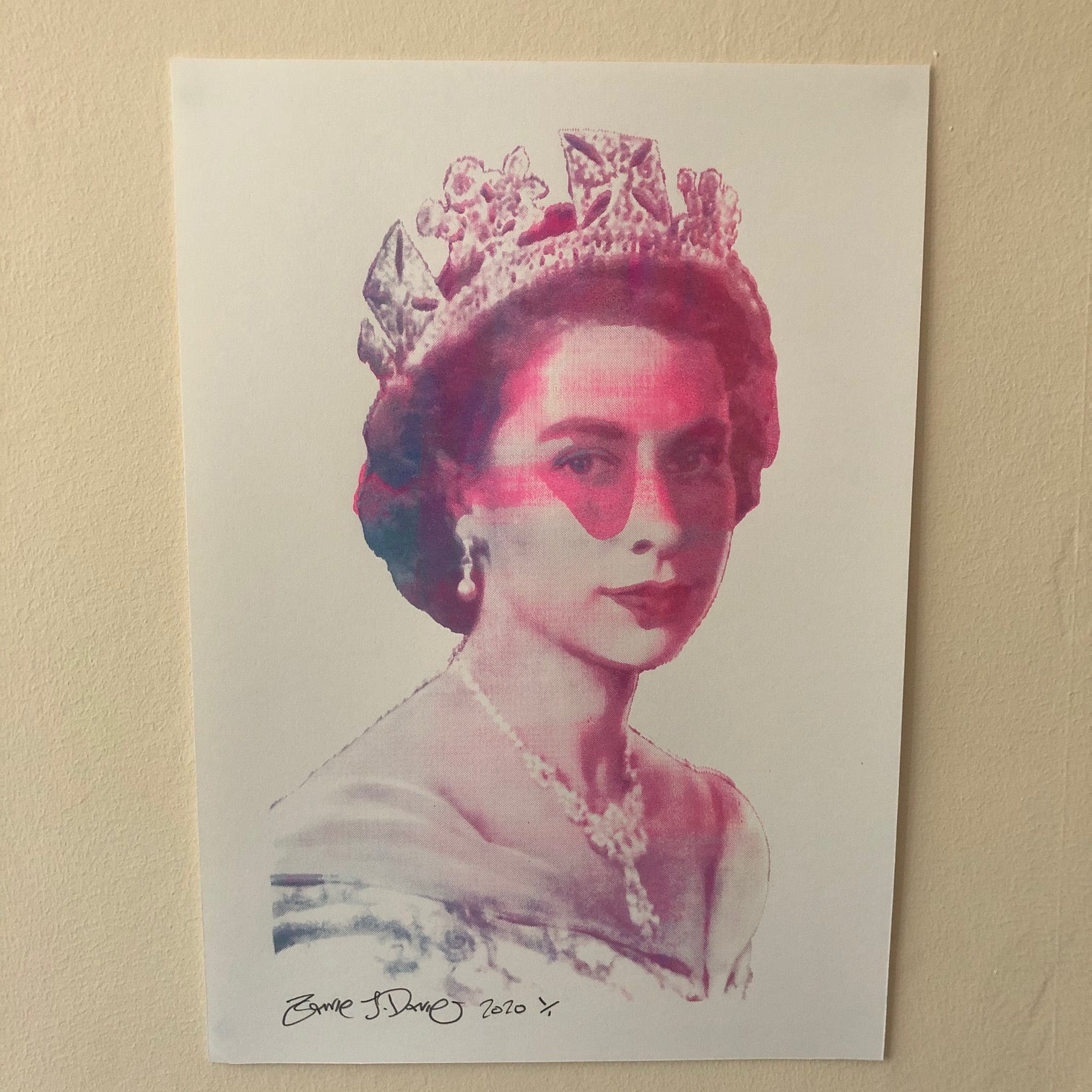 The Queen Print by Barrie J Davies 2020 - unframed Silkscreen print on paper (hand finished) edition of 1/1 - A3 size 29cm x 42cm