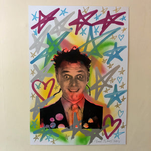 Slick Rick Print by Barrie J Davies 2020 - unframed Silkscreen print on paper (hand finished) edition of 1/1 - A2 size 42cm x 59.4cm. Barrie J Davies is an Artist - Pop Art and Street art inspired Artist based in Brighton England UK - Pop Art Paintings, Street Art Prints & Editions available
