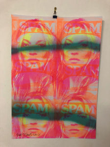 Junk Mail Kate Print by Barrie J Davies 2020 - unframed Silkscreen print on paper (hand finished) edition of 1/1 - A2 size 42cm x 59cm. Barrie J Davies is an Artist - Pop Art and Street art inspired Artist based in Brighton England UK - Pop Art Paintings, Street Art Prints & Editions available