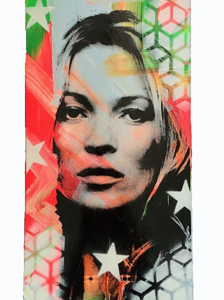 Kate Board by Barrie J Davies 2020 - Silkscreen print and paint on skateboard (hand finished) edition of 1/1 - 80cm x 20cm. Urban Pop Art and Street art inspired Artist based in Brighton England UK - Shop Pop Art Paintings, Street Art Prints & collectables.