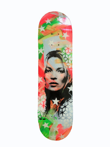 Kate Board by Barrie J Davies 2020 - Silkscreen print and paint on skateboard (hand finished) edition of 1/1 - 80cm x 20cm.