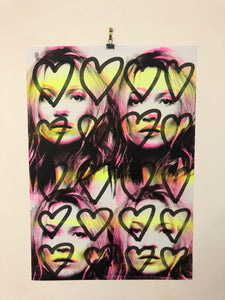Love heart Kate Print by Barrie J Davies 2020 - unframed Silkscreen print on paper (hand finished) edition of 1/1 - A2 size 42cm x 59cm. Barrie J Davies is an Artist - Pop Art and Street art inspired Artist based in Brighton England UK - Pop Art Paintings, Street Art Prints & Editions available