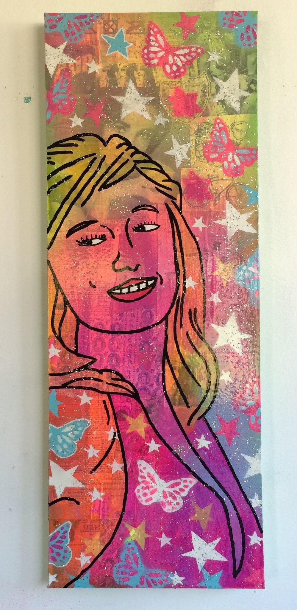 Screenshot by Barrie J Davies 2015, Mixed media on canvas, 30cm x 80cm, unframed. Barrie J Davies is an Artist - Pop Art and Street art inspired Artist based in Brighton England UK - Pop Art Paintings, Street Art Prints & Editions available.