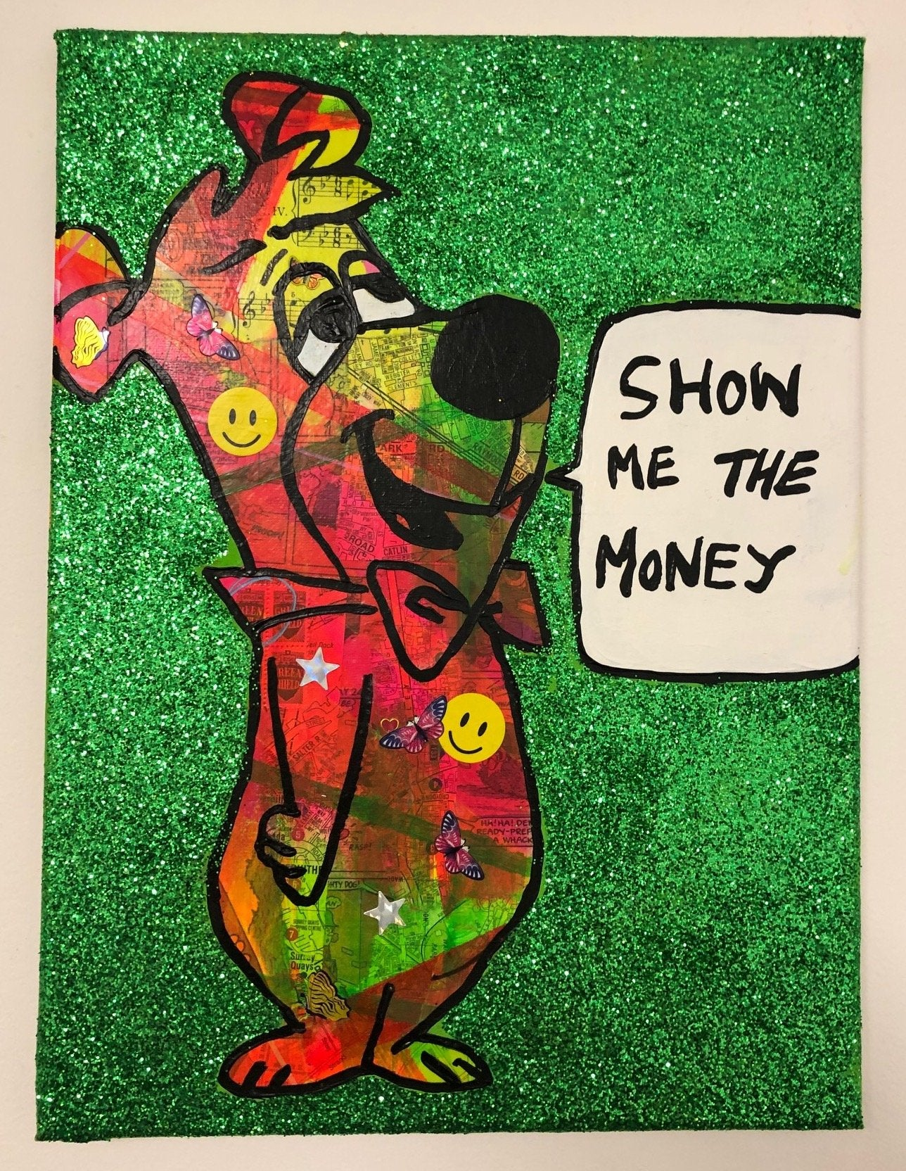 Show me the money by Barrie J Davies 2019, mixed media on canvas, unframed, 30cm x 40cm. Barrie J Davies is an Artist - Pop Art and Street art inspired Artist based in Brighton England UK - Pop Art Paintings, Street Art Prints & Editions available.