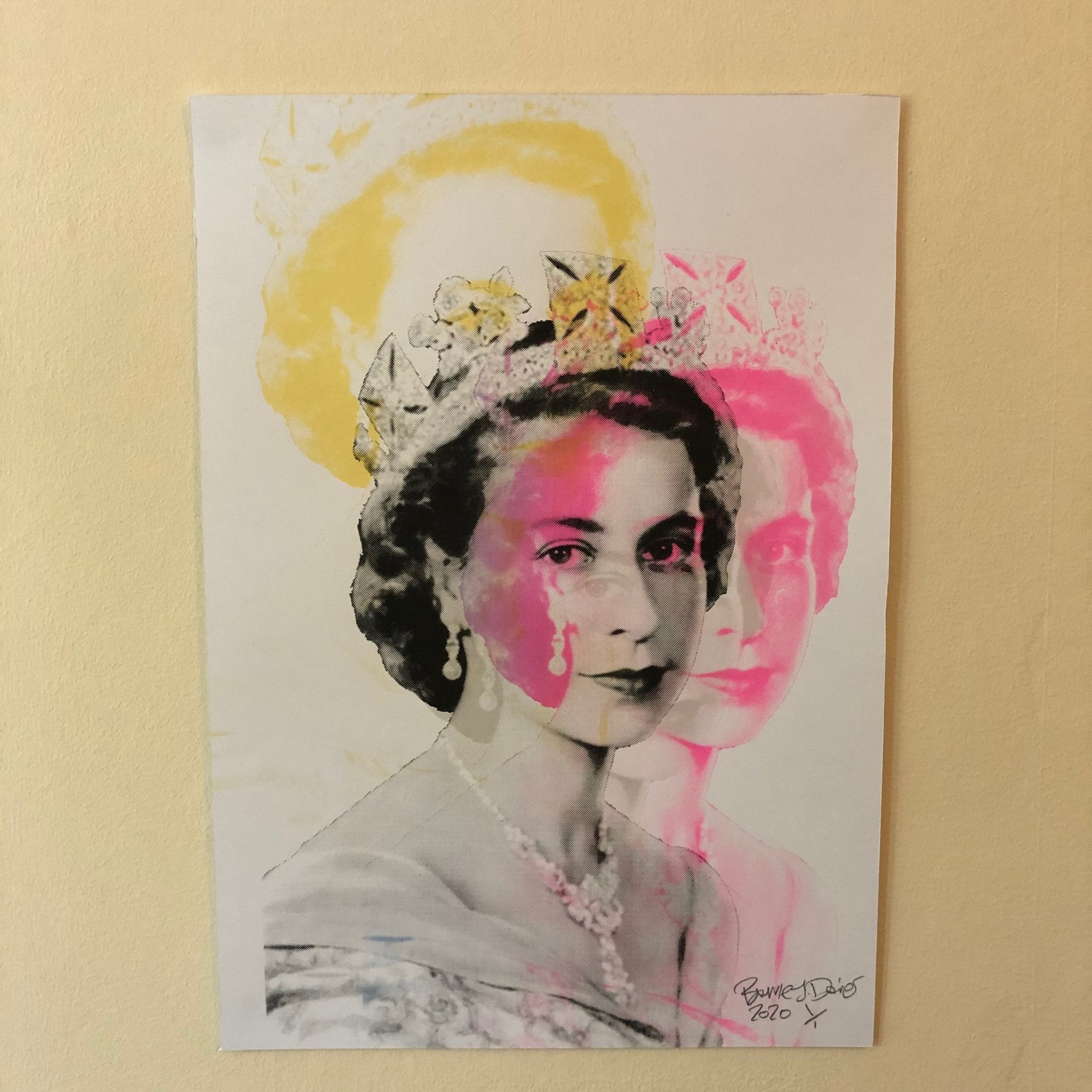 The Queen Print by Barrie J Davies 2020 - unframed Silkscreen print on paper (hand finished) edition of 1/1 - A3 size 29cm x 42cm. Barrie J Davies is an Artist - Pop Art and Street art inspired Artist based in Brighton England UK - Pop Art Paintings, Street Art Prints & Editions available