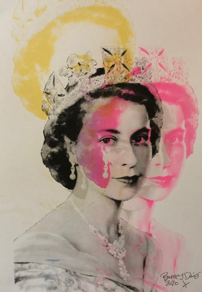The Queen Print by Barrie J Davies 2020 - unframed Silkscreen print on paper (hand finished) edition of 1/1 - A3 size 29cm x 42cm. Barrie J Davies is an Artist - Pop Art and Street art inspired Artist based in Brighton England UK - Pop Art Paintings, Street Art Prints & Editions available.