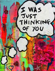 Thinking of you by Barrie J Davies 2019, Mixed media on Canvas, 20cm x 25cm, Unframed. Barrie J Davies is an Artist - Pop Art and Street art inspired Artist based in Brighton England UK - Pop Art Paintings, Street Art Prints & Editions available.