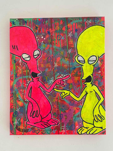 Alien Two Painting by Barrie J Davies 2021 by Barrie J Davies 2021, Mixed media on Canvas, 50cm x 60cm, Unframed.