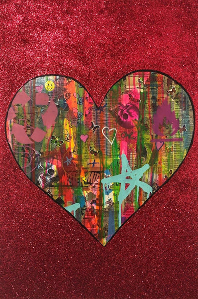 All is Full of Love by Barrie J Davies 2019, mixed media on canvas, Unframed, 50cm x 75cm. Barrie J Davies is an Artist - Pop Art and Street art inspired Artist based in Brighton England UK - Pop Art Paintings, Street Art Prints & Editions available.