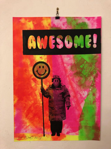 Awesome Happy Lady Print by Barrie J Davies 2021. Fun Urban Pop Art Street Artist Brighton England UK. Buy online with free delivery worldwide.