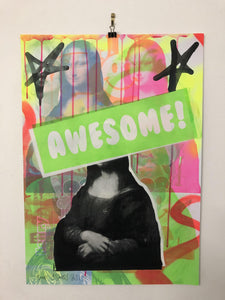 Awesome Hidden Secret Smile Print by Barrie J Davies 2021, Urban Pop Art Street Artist based in Brighton England UK. Buy online for free delivery worldwide.