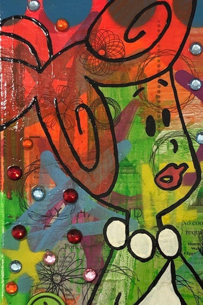 Awesome by Barrie J Davies 2020, mixed media on canvas, unframed, 30cm x 40cm. Barrie J Davies is an Artist - Pop Art and Street art inspired Artist based in Brighton England UK - Pop Art Paintings, Street Art Prints & Editions available