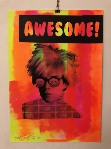 Awesome Pop Man Print by Barrie J Davies 2021. Fun Urban Pop Art & Street art inspired Artist based in Brighton England UK.