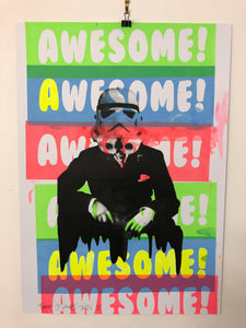 Awesome Rider of The Storm Print by Barrie J Davies 2021 - Urban Pop Art Street Artist based in Brighton England UK. Buy online for free delivery worldwide.