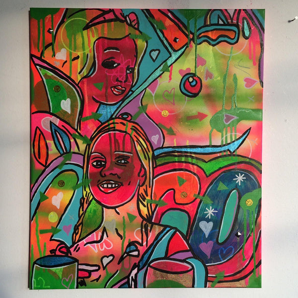 Bath Bomb by Barrie J Davies 2015, mixed media on canvas, 50cm x 60cm, unframed. Barrie J Davies is an Artist - Psychedelic pop surreal street art inspired Artist based in Brighton England UK - Paintings, Prints & Editions available.