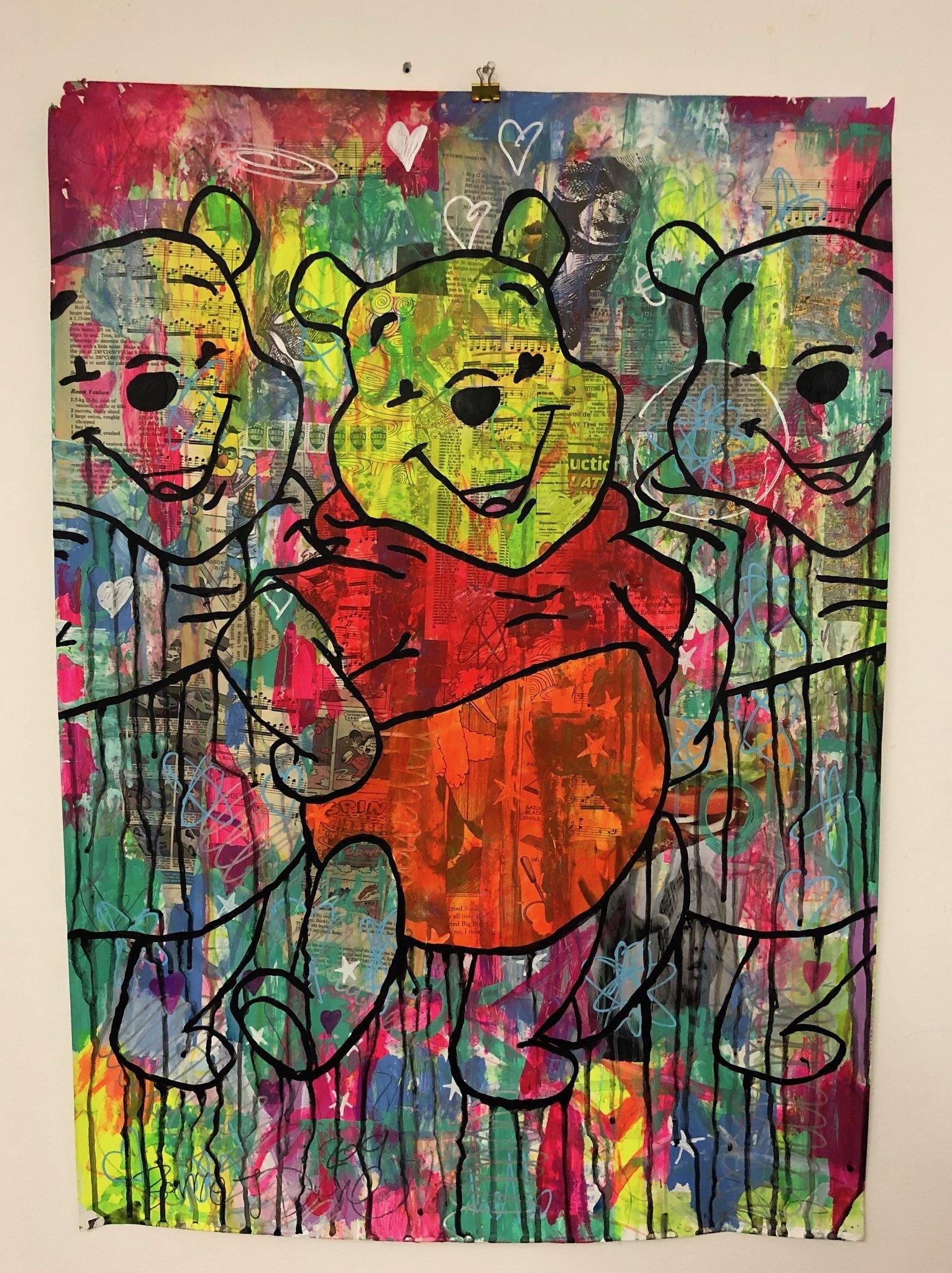 Bear Market by Barrie J Davies 2019, Mixed media on Paper (unframed) A1 size 59cm x 84cm. Barrie J Davies is an Artist - Pop Art and Street art inspired Artist based in Brighton England UK - Pop Art Paintings, Street Art Prints & Editions available.