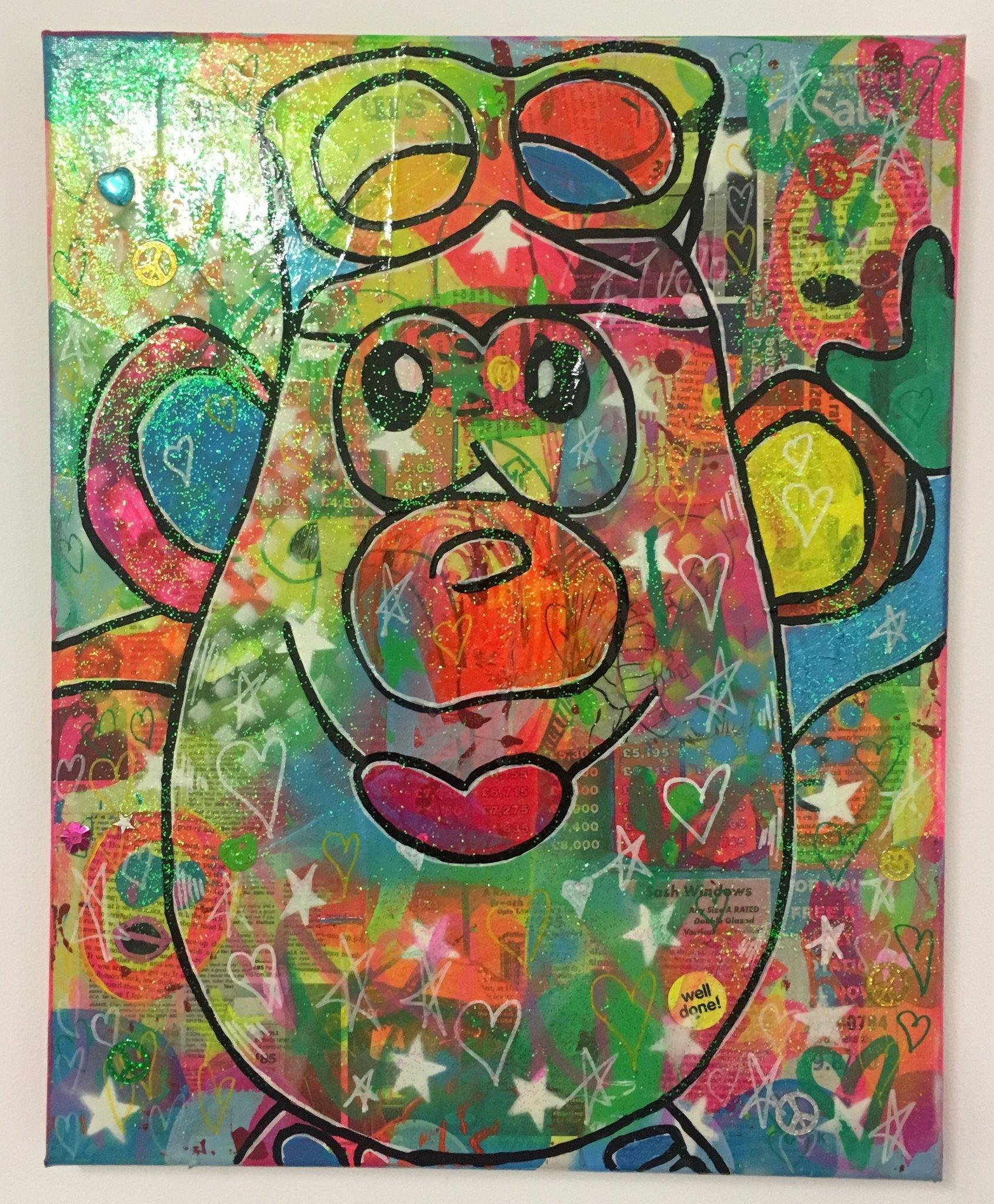 Best foot forward by Barrie J Davies 2017, Mixed media painting on canvas, 40cm x 50cm, unframed. Barrie J Davies is an Artist - Pop Art and Street art inspired Artist based in Brighton England UK - Pop Art Paintings, Street Art Prints & Editions available.