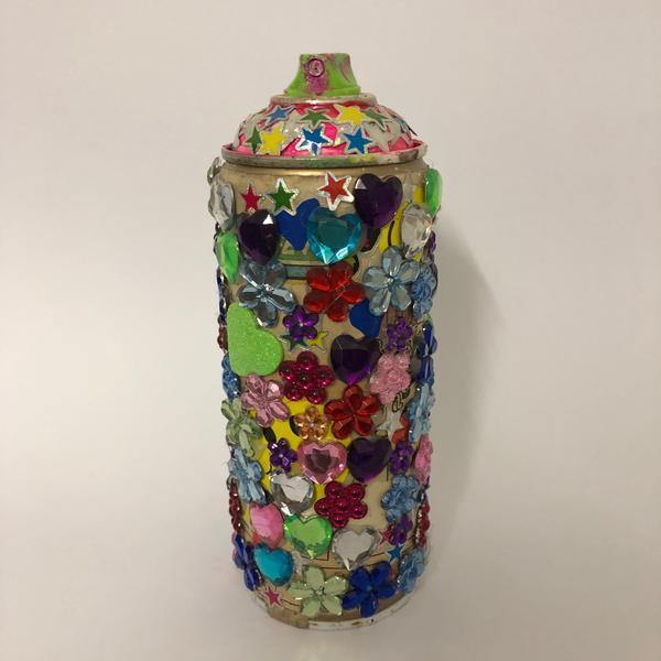 Bling Spray Can Street Art Sculpture by Barrie J Davies 2020, Mixed media sculpture. Barrie J Davies is an Artist - Pop Art and Street art inspired Artist based in Brighton England UK - Pop Art Paintings, Street Art Prints & Editions available.