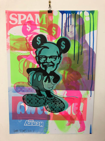 Blue Mad Mickey Mash Up Print by Barrie J Davies 2021, Urban Pop Art Street Artist based in Brighton England UK. Buy online for free delivery worldwide.