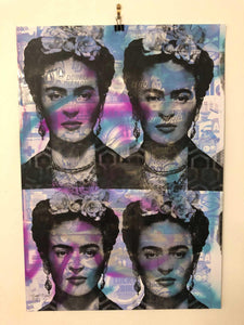 Blue Shine On You Crazy Diamond Print by Barrie J Davies 2021, Urban Pop Art Street Artist based in Brighton England UK. Buy online for free delivery worldwide.