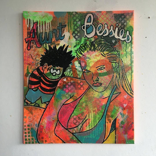 Brain feeder by Barrie J Davies 2016, Mixed media on Canvas, 50cm x 60cm, Unframed. Barrie J Davies is an Artist - Pop Art and Street art inspired Artist based in Brighton England UK - Pop Art Paintings, Street Art Prints & Editions available.