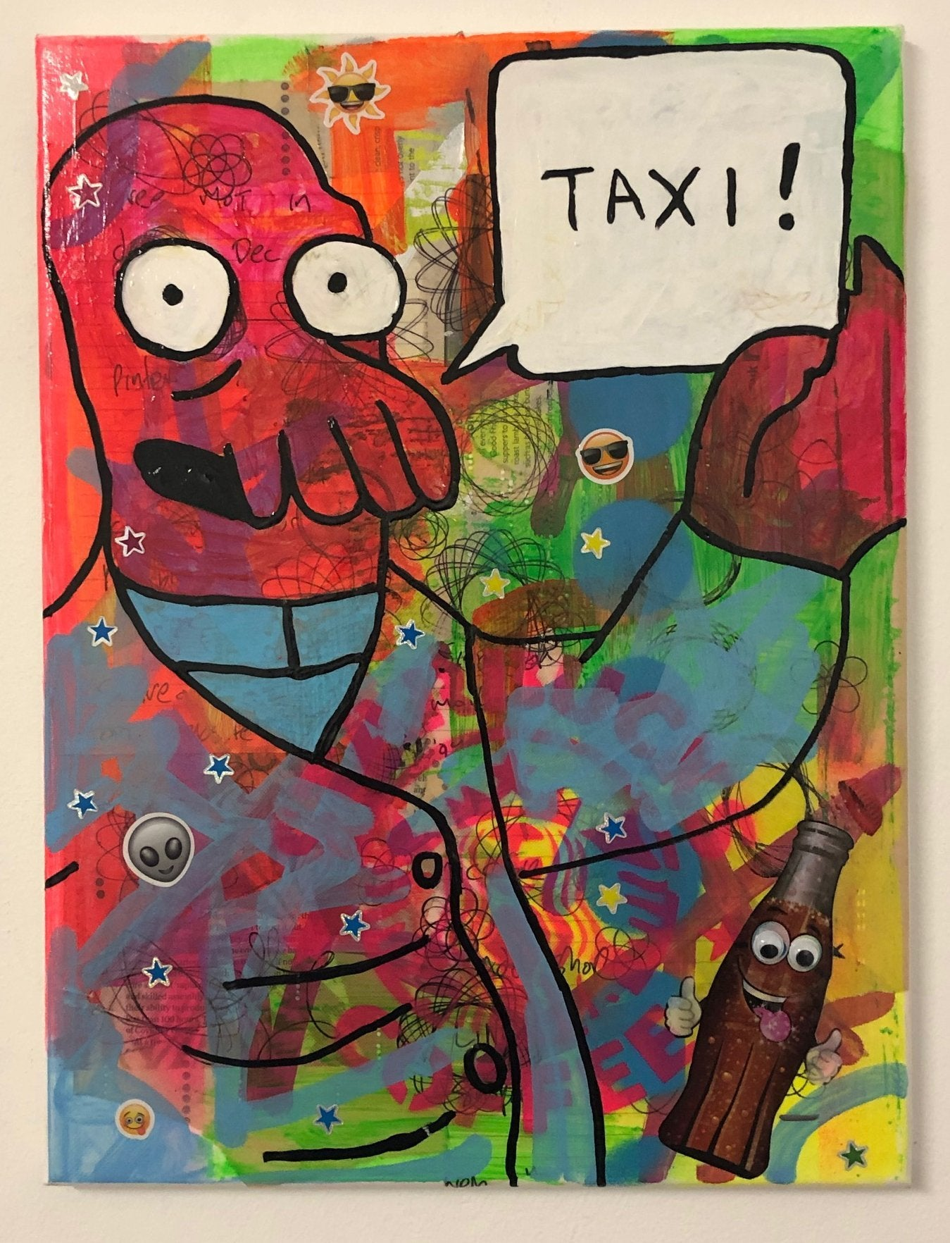 Call me a cab by Barrie J Davies 2020, mixed media on canvas, unframed, 30cm x 40cm. Barrie J Davies is an Artist - Pop Art and Street art inspired Artist based in Brighton England UK - Pop Art Paintings, Street Art Prints & Editions available
