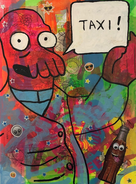 Call me a cab by Barrie J Davies 2020, mixed media on canvas, unframed, 30cm x 40cm. Barrie J Davies is an Artist - Pop Art and Street art inspired Artist based in Brighton England UK - Pop Art Paintings, Street Art Prints & Editions available.