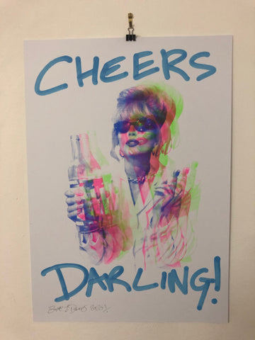 Cheers Darling I Want It All Print by Barrie J Davies 2020 - unframed Silkscreen print on paper (hand finished) edition of 1/1 - A2 size 42cm x 59.4cm.  Barrie J Davies is an Artist - Pop Art and Street art inspired Artist based in Brighton England UK - Paintings, Prints & Editions available.