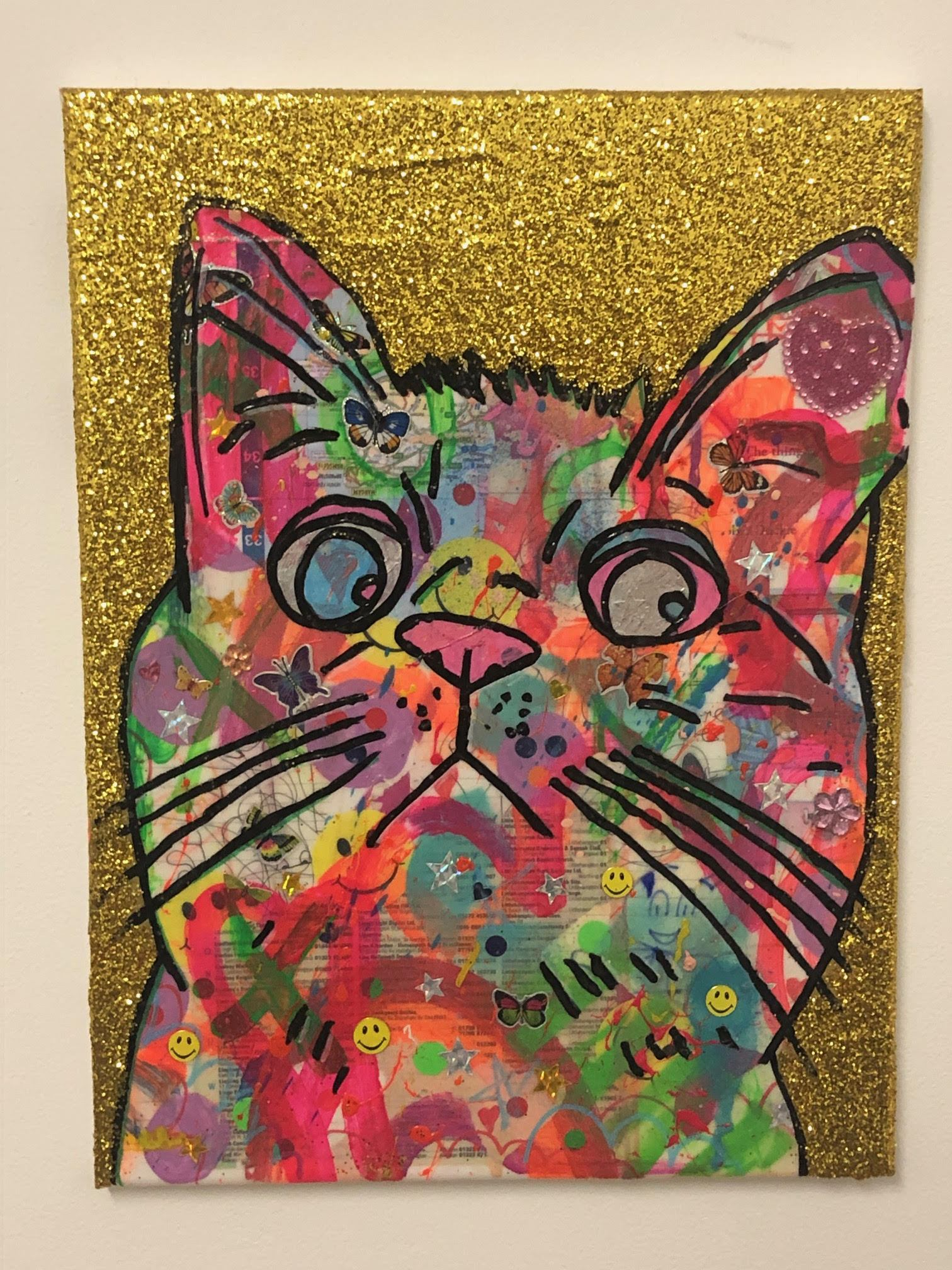 Cosmic Moggy by Barrie J Davies 2019, Mixed media on Canvas, Unframed. Urban Pop Art Street Artist based in Brighton England UK. Buy online for free delivery worldwide.
