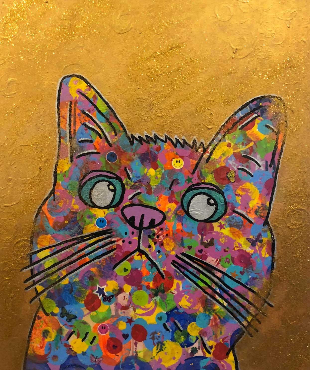 Cosmic moggy by Barrie J Davies 2018, mixed media on canvas, unframed, 50cm x 60cm. Barrie J Davies is an Artist - Pop Art and Street art inspired Artist based in Brighton England UK - Pop Art Paintings, Street Art Prints & Editions available