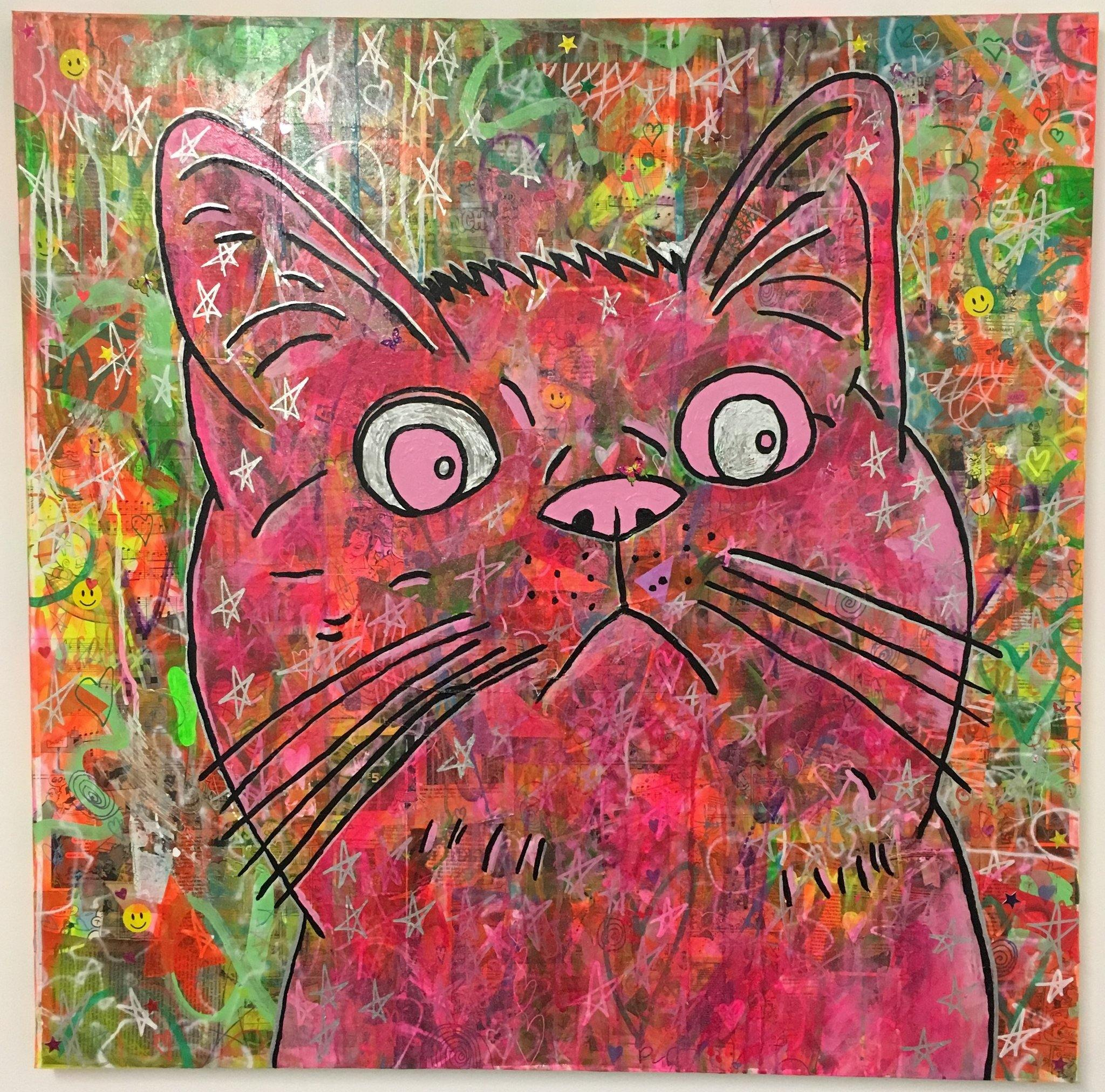 Cosmic moggy pink by Barrie J Davies 2018, Mixed media on canvas, 90cm x 90cm, Unframed. Barrie J Davies is an Artist - Pop Art and Street art inspired Artist based in Brighton England UK - Pop Art Paintings, Street Art Prints & Editions available.