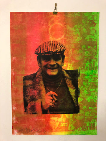 Cushty Print by Barrie J Davies 2021.  Fun Urban Pop Art Street Artist based in Brighton England UK. Buy art for free delivery worldwide.