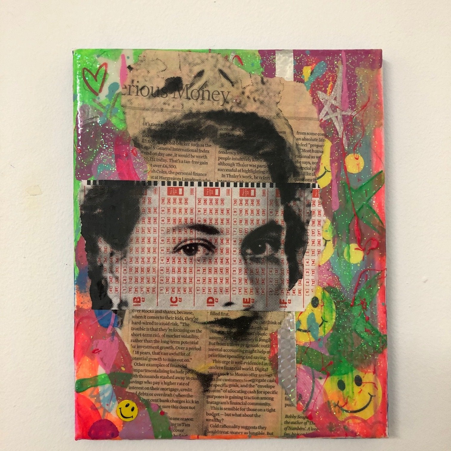 Dada queen by Barrie J Davies 2020, Mixed media on canvas, unframed 20cm x 25cm. Barrie J Davies is an Artist - Pop Art and Street art inspired Artist based in Brighton England UK - Pop Art Paintings, Street Art Prints & Editions available.