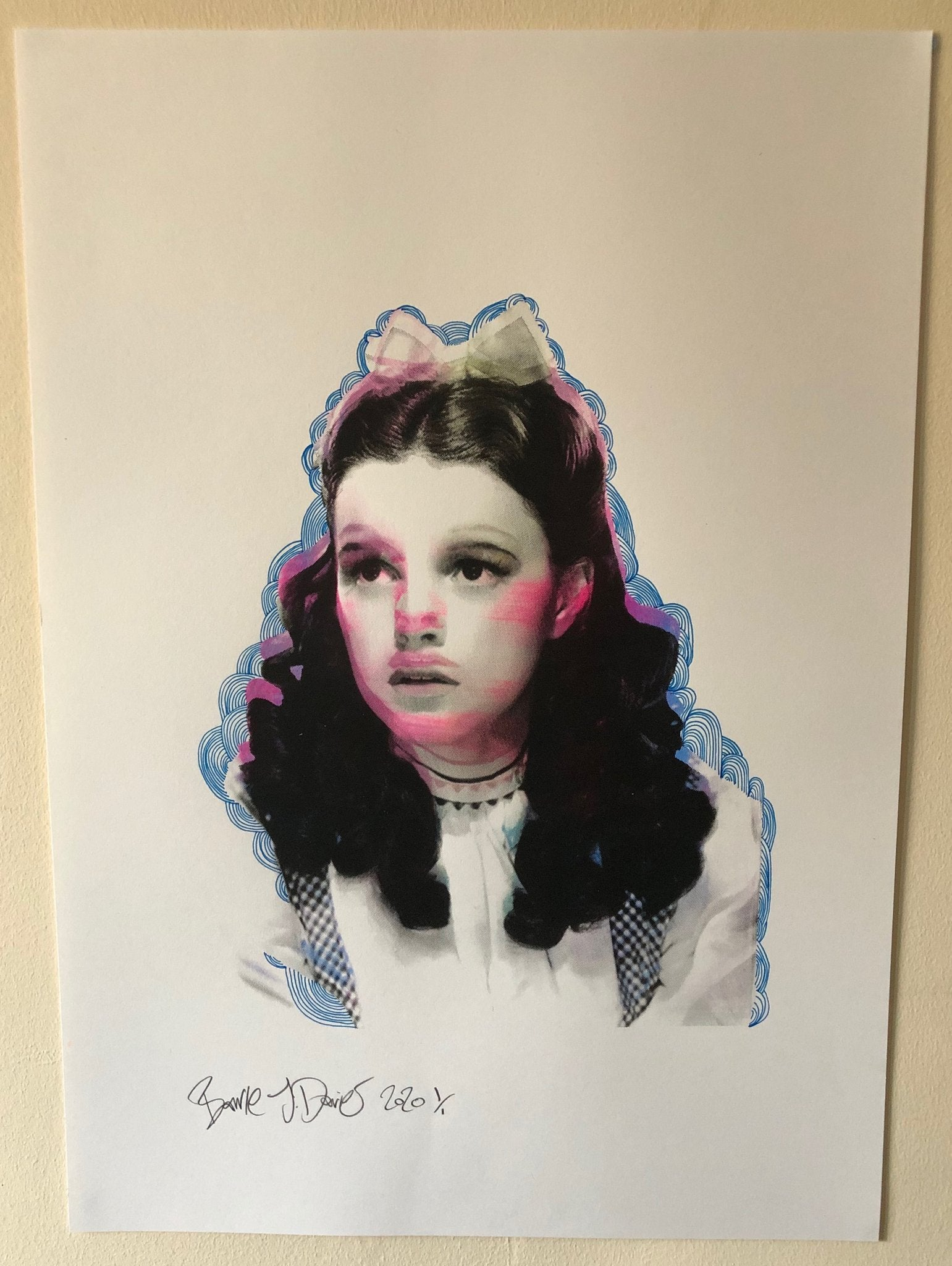 Doodle Dorothy Print by Barrie J Davies 2020 - unframed Silkscreen print on paper (hand finished) edition of 1/1 - A2 size 42cm x 59.4cm. Barrie J Davies is an Artist - Pop Art and Street art inspired Artist based in Brighton England UK - Pop Art Paintings, Street Art Prints & Editions available.