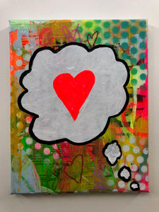 Dreaming of love by Barrie J Davies 2019, mixed media on canvas, 21cm x 25 cm, unframed