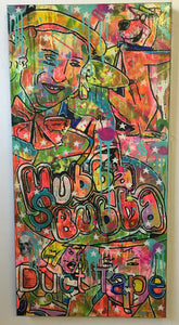 Exit Planet Dust by Barrie J Davies 2016, mixed media on canvas 50cm x 100cm. Barrie J Davies is an Artist - Psychedelic pop surreal street art inspired Artist based in Brighton England UK - Paintings, Prints & Editions available