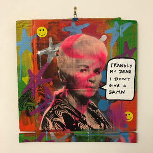 Frankly Pat by Barrie J Davies 2020, mixed media on cardboard, unframed, 44cm x 47cm. Barrie J Davies is an Artist - Urban Pop Art and Street art inspired Artist based in Brighton England UK - Shop Pop Art Paintings, Street Art Prints & collectables.