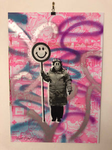 Happy Lady Print by Barrie J Davies 2021 - Urban Pop Art Street Artist based in Brighton England UK. Buy online for free delivery worldwide.