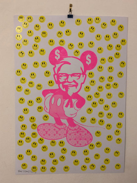 Happy Mad Mickey Print by Barrie J Davies 2021 Urban Pop Street Artist based in Brighton England UK. Buy Online for free delivery worldwide.