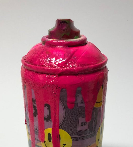 Happy Money Spray Can Sculpture by Barrie J Davies 2020, Mixed media sculpture. Barrie J Davies is an Artist - Pop Art and Street art inspired Artist based in Brighton England UK - Pop Art Paintings, Street Art Prints & Editions available.