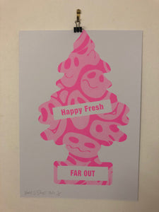 Happy Tree Print by Barrie J Davies 2021 - unframed Silkscreen print on paper (hand finished) edition of 1/1 - A3 size 29.7cm x 42cm.