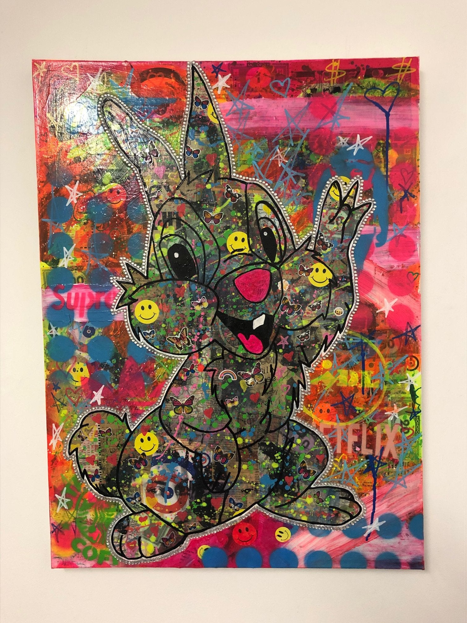 Hey Girl Hey Boy by Barrie J Davies 2020, mixed media on canvas, Unframed, 59cm x 80cm. Barrie J Davies is an Artist - Pop Art and Street art inspired Artist based in Brighton England UK - Pop Art Paintings, Street Art Prints & Editions available