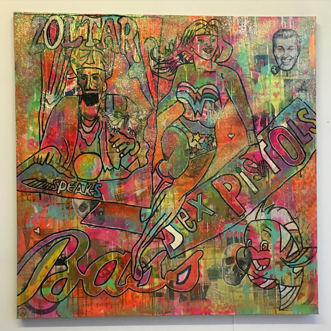 Higher than the sun by Barrie J Davies 2016, mixed media on canvas 90cm x 90cm, unframed. Barrie J Davies is an Artist - Pop Art and Street art inspired Artist based in Brighton England UK - Pop Art Paintings, Street Art Prints & Editions available.