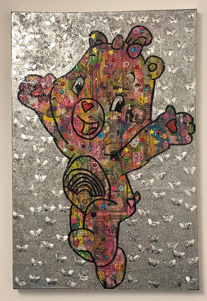 I Care because you do by Barrie J Davies 2018, mixed media on canvas, Unframed, 50cm x 75cm. Barrie J Davies is an Artist - Pop Art and Street art inspired Artist based in Brighton England UK - Pop Art Paintings, Street Art Prints & Editions available.